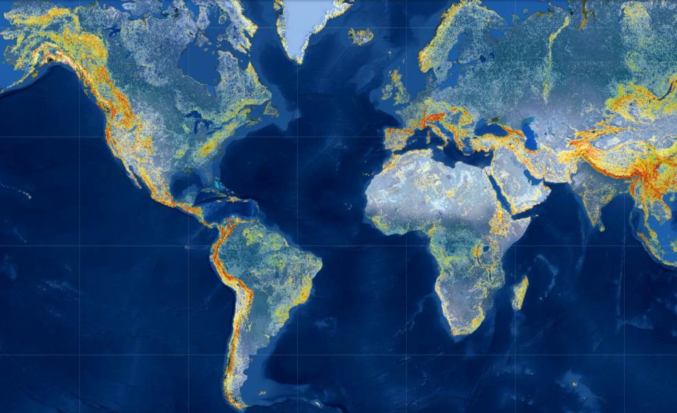 Map of potential landslide risk output by NASA's Landslide Hazard Assessment Model in June 2021