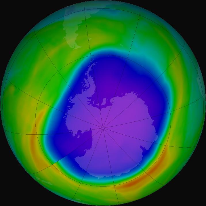 Visualization of ozone hole over Antarctica