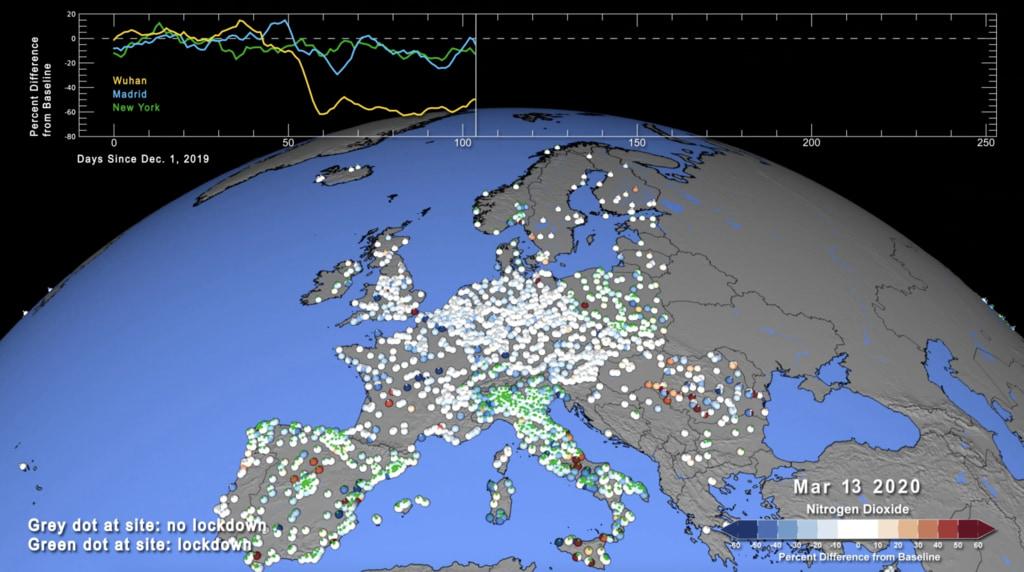 Map showing nitrogen dioxide emissions over Europe