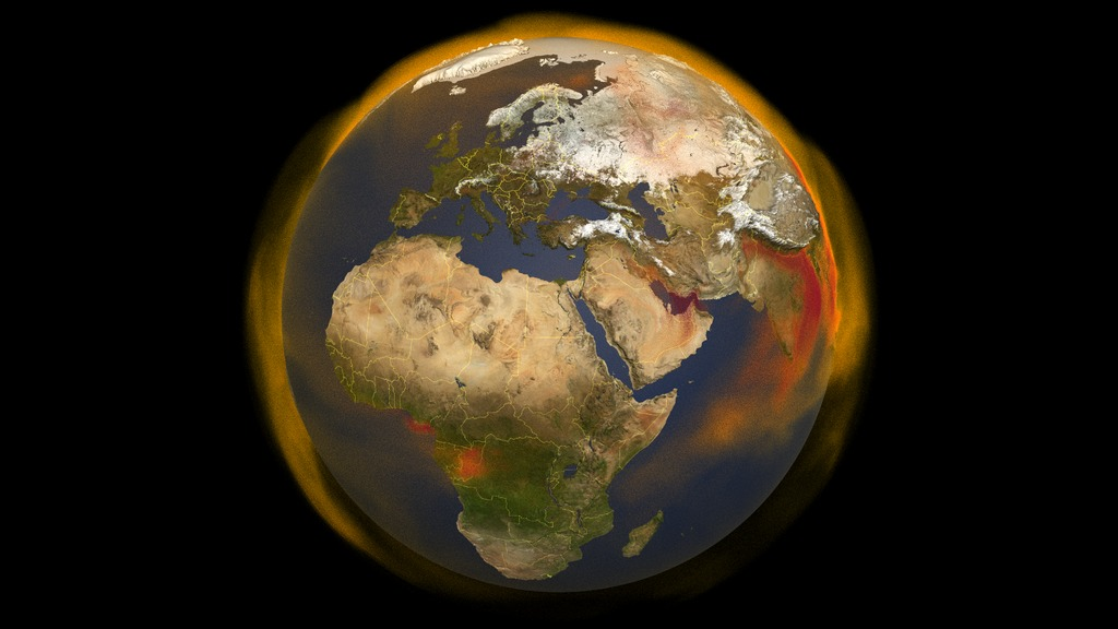 Visualization of methane on an Earth globe