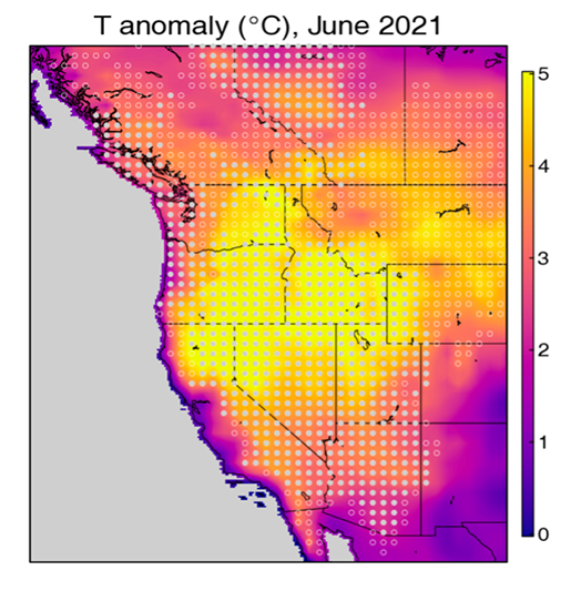 Spatial pattern of near-surface temperature anomaly of June 2021 relative to 1981–2020 over the western U.S.