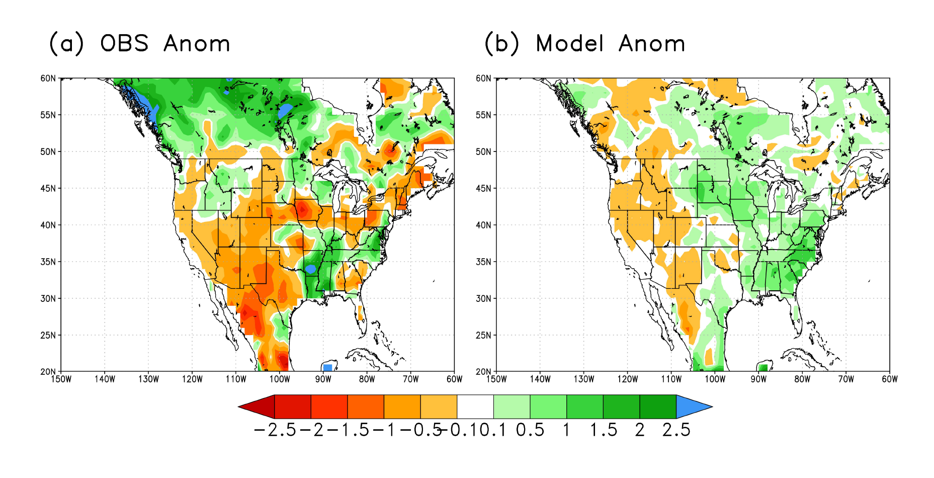 Observed (left) and model (right) precipitation anomaly for June, July, and August from the March forecast