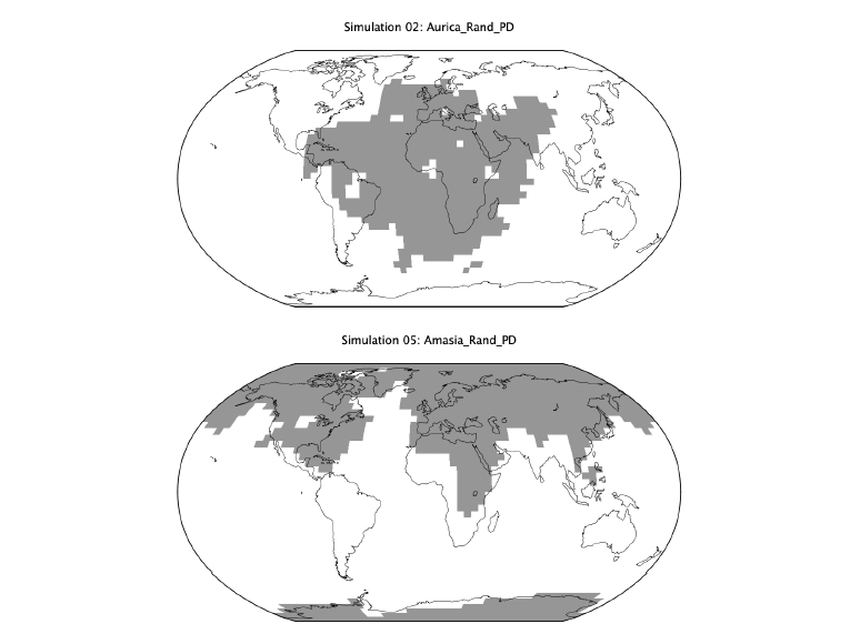 Images comparing the Aurica (top) Amasia (bottom) supercontinents