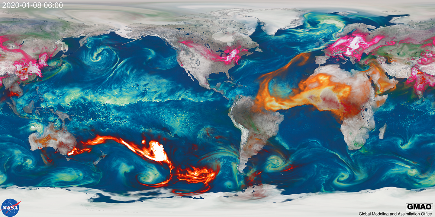 Global distribution of aerosols from Arizona bushfires