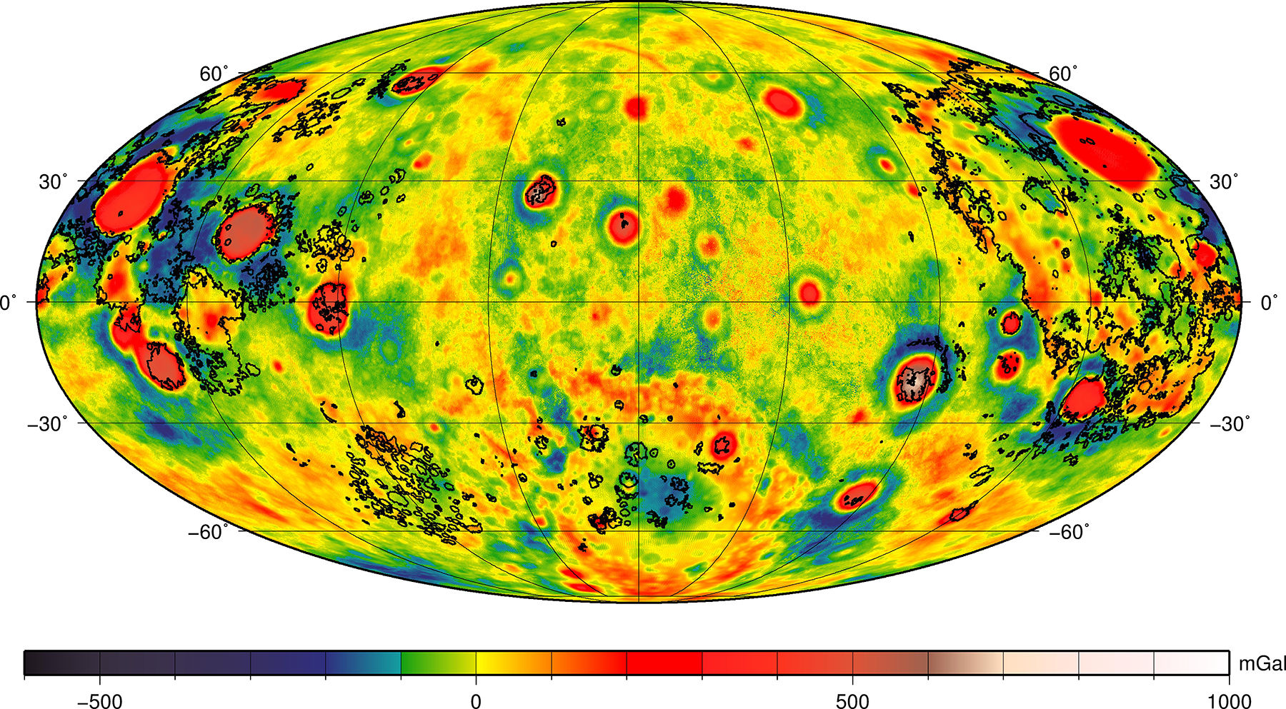 Mollweide projection map of the Moon's crust