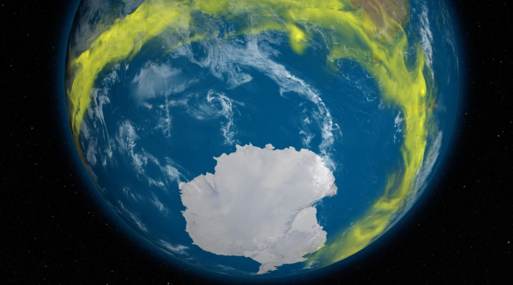 Visualization of CFC-11, an ozone depleting gas, around Antarctica