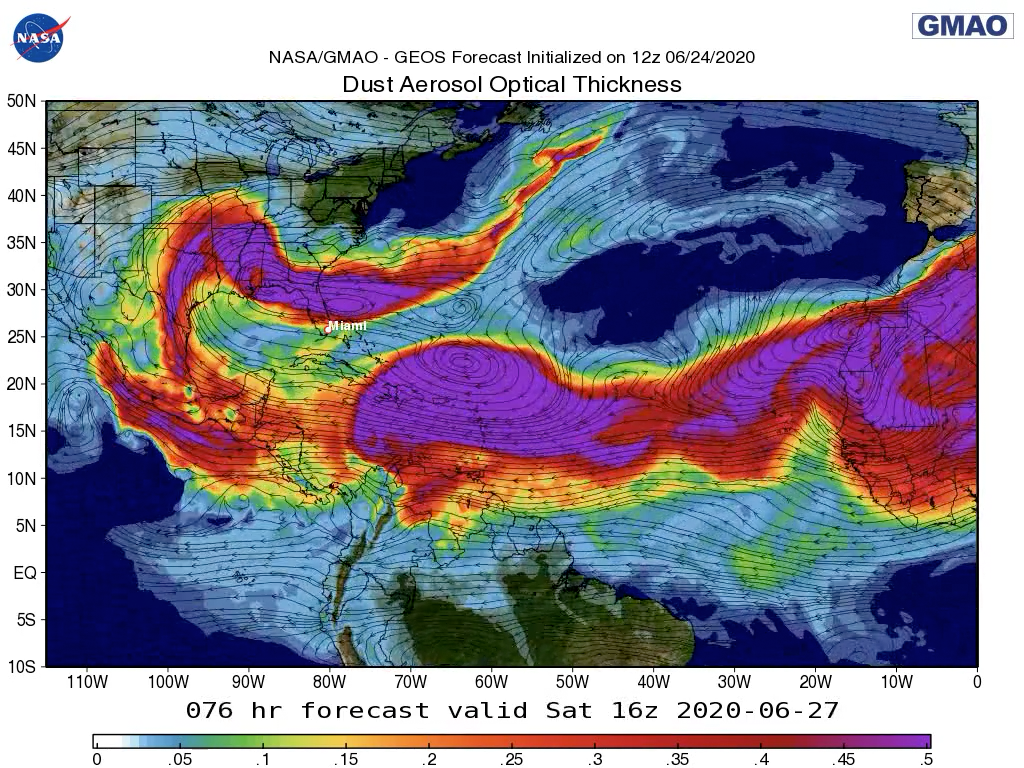 Forecast map of dust aerosol optical thickness over the Atlantic Ocean and southern U.S.