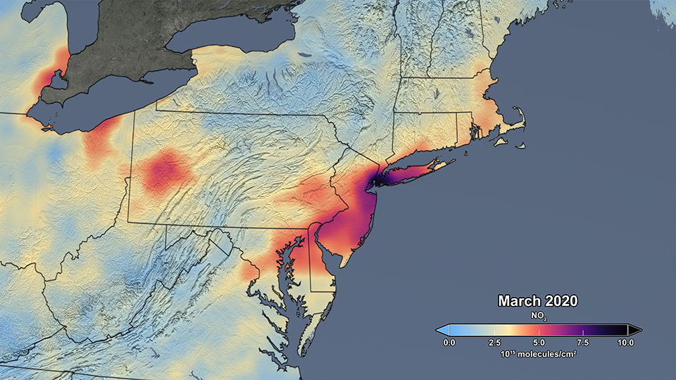 Nitrogen dioxide above the U.S. Mid-Atlantic states during March 2020