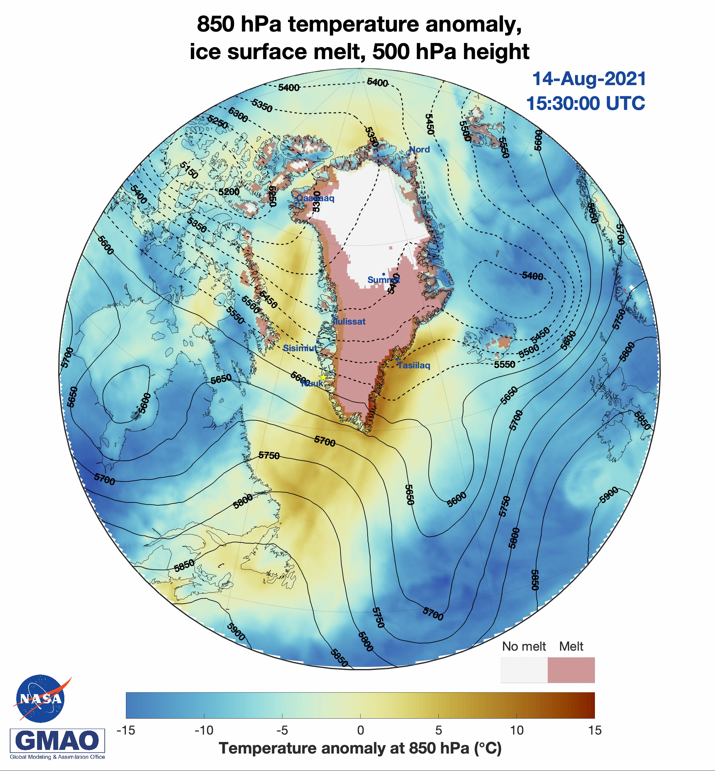 Visualization of air temperature anomaly, ice surface melt extent, and 500 mPa height during peak melt extent on Greenland
