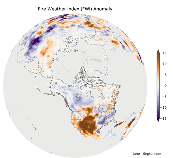 map of Fire Weather Index seasonal anomalies across North America during June–September 2020