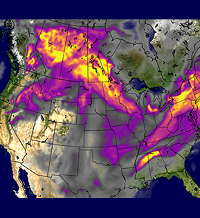 Map of aerosol optical depth due to black and organic carbon over North America at 6 UTC on July 21, 2021