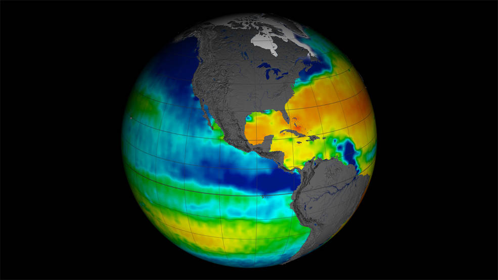 Image of satellite-observed global ocean salinity