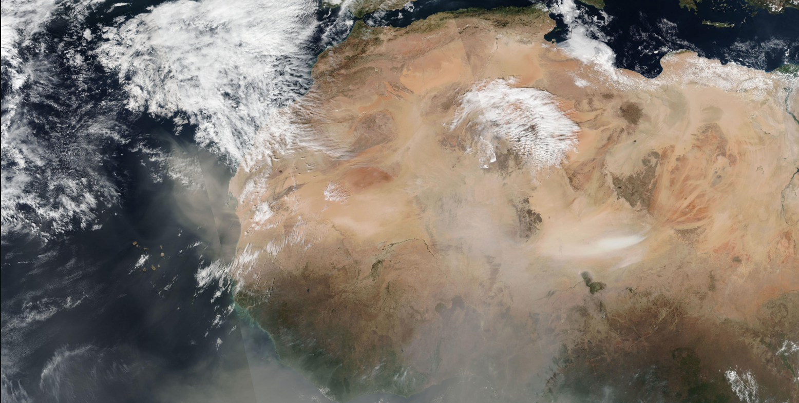 Satellite image of dust over Africa