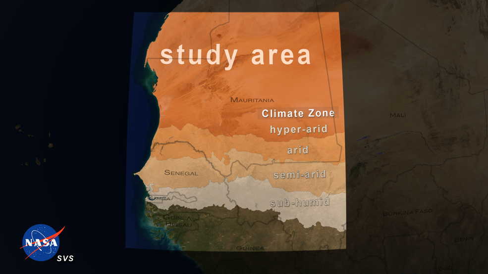 Map showing study area focused on the dryland regions of West Africa