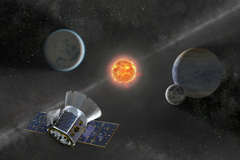 Illustration of NASA's Transiting Exoplanet Survey Satellite (TESS)